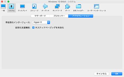 VirtualBox 設定 システム アクセラレーション